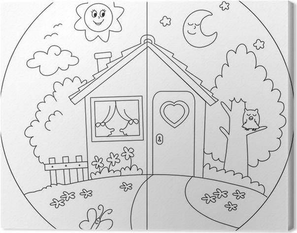 Leinwandbild Landhaus Tag und Nacht für Kinder Färben. • Pixers ...