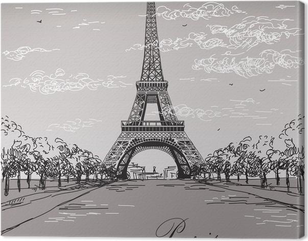 Leinwandbild Landschaft mit Eiffelturm in schwarzen und weißen ...