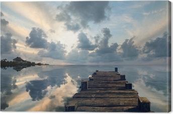 Leinwandbild Landschaft mit einem alten Pier