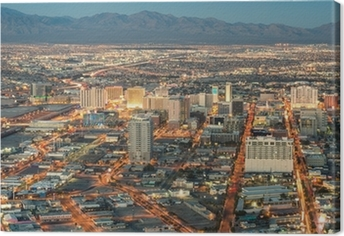 Leinwandbild Las Vegas Downtown - Luftaufnahme von generischen Gebäude vor Sonne