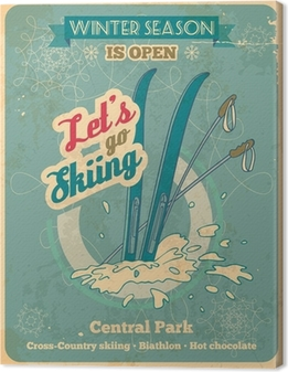 Leinwandbild Lassen Sie uns zum Skifahren Retro-Poster