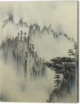 Leinwandbild Latschenkiefer und Nebel