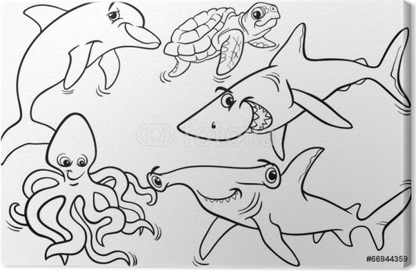 Leinwandbild Leben im Meer Tiere und Fische Malvorlagen • Pixers ...