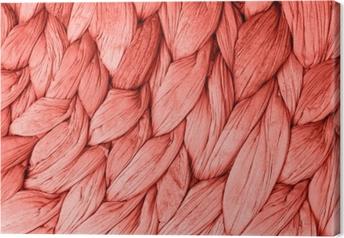 Leinwandbild Lebende Korallenfarbe der abstrakten gewebten Mattenbeschaffenheitshintergrund. trendige Konzeptfarbe des Jahres.