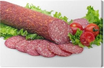 Leinwandbild Leckere rote Salami
