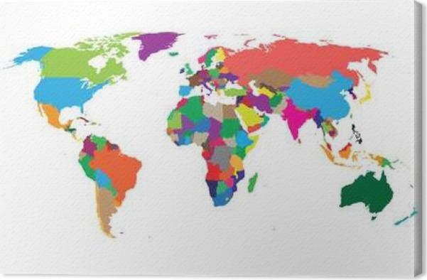 Leinwandbild Leere bunte politische Weltkarte auf weißem Hintergrund ...