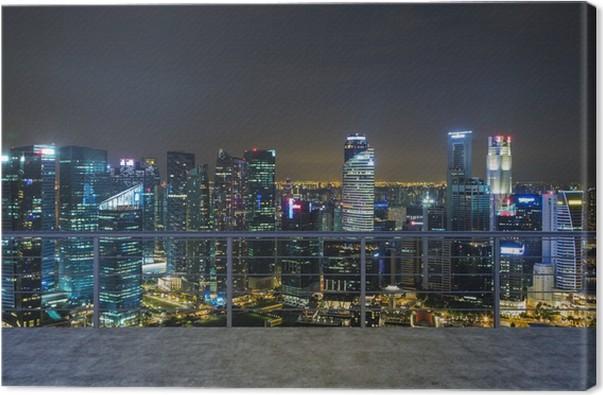Leinwandbild Leere Moderne Terrassenbereich, Abend In New York Blick Auf  Die Stadt. Ein Konzept