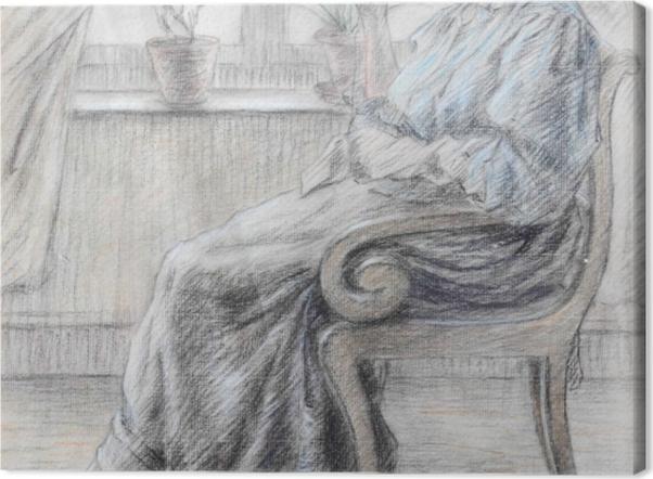 Leinwandbild Leo Gestel - Strickende Frau - Reproductions