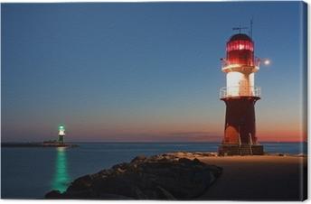Leinwandbild Leuchttürme bei Nacht an der Ostsee, Hafeneinfahrt Warnemünde
