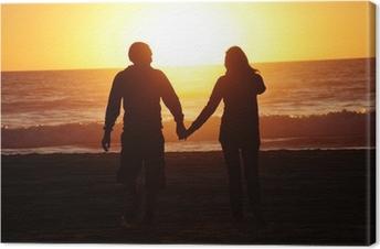 Leinwandbild Liebespaar Strand Sonnenuntergang