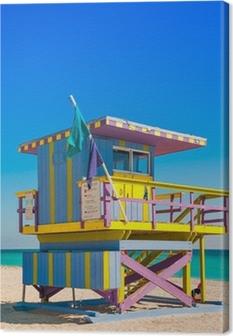 Leinwandbild Lifeguard Tower in South Beach, Miami Beach, Florida
