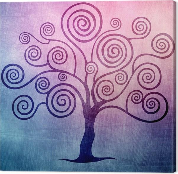 Leinwandbild Lila Baum mit Locken. Garten in den Abend. • Pixers ...