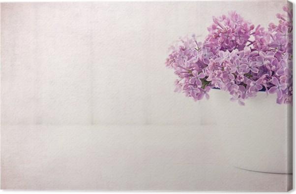 Leinwandbild Lila Flieder Frühlingsblumen auf vintage texturierte ...