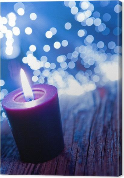 Leinwandbild Lila Kerze mit Lichtern • Pixers® - Wir leben, um zu ...