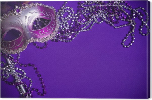Leinwandbild Lila Mardi-Gras oder venezianische Maske auf lila ...