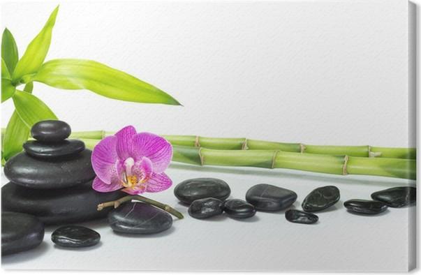 Leinwandbild Lila Orchidee mit Bambus und viele Steine • Pixers ...