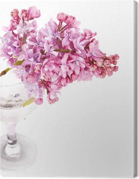 Leinwandbild Lila Zweig in einem Glas auf einem weißen Hintergrund ...