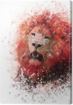 Leinwandbild Lion Head Aquarell