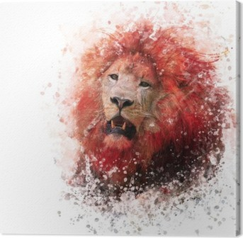 Leinwandbild Lion Head Aquarell