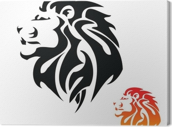 Leinwandbild Lion Kopf Tribal Tattoo