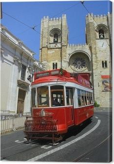 Leinwandbild Lisbon roten Straßenbahn