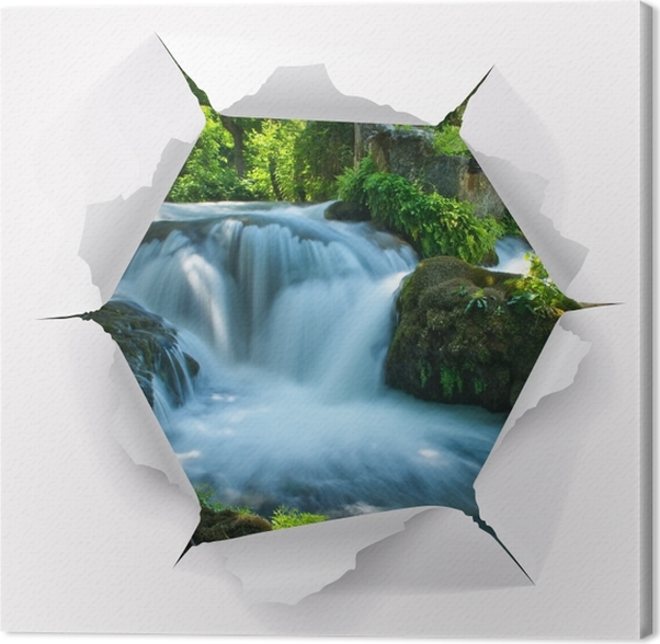 Leinwandbild Loch In Der Wand Wasserfall