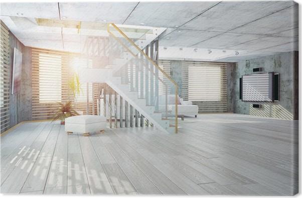 Leinwandbild Loft-Interieur, 3D • Pixers® - Wir leben, um zu verändern
