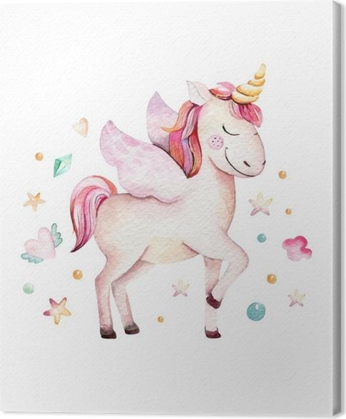 Leinwandbild Lokalisiertes Nettes Aquarell Unicorn Clipart Kinderzimmer Einhorner Illustration Prinzessin Rainbow Unicorns Poster Trendy Rosa Cartoon