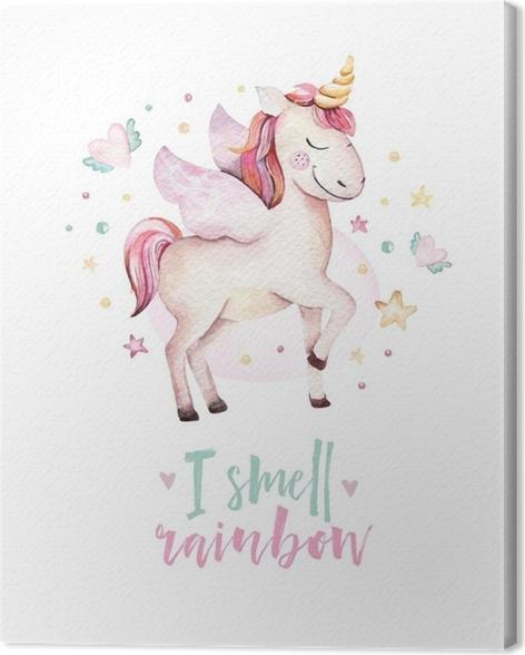Leinwandbild Lokalisiertes nettes Aquarell Unicorn scherzt Plakat ...