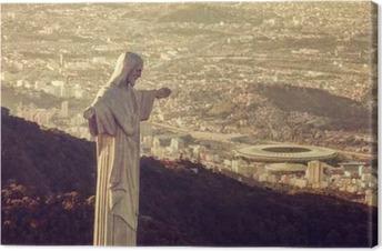 Leinwandbild Luftbild von Christus Statue Blick auf Maracana-Stadion