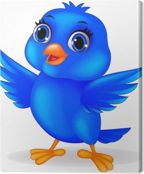 Leinwandbild Lustige Comic-blaue Vogel • Pixers® - Wir leben, um zu ...