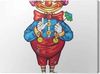 Leinwandbild Lustige Karikatur Clown auf einem weißen Hintergrund