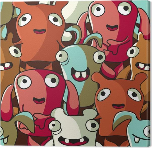 Leinwandbild Lustige Monster und Tiere-nahtlose Muster • Pixers ...