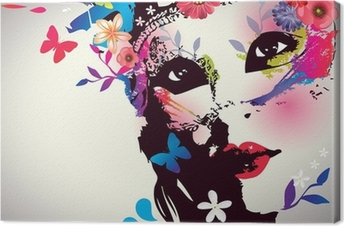 Leinwandbild Mädchen mit Maske / Vektor-Illustration