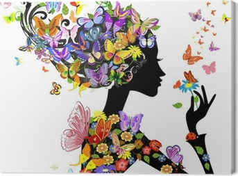 Leinwandbild Mädchen Mode Blumen mit Schmetterlingen