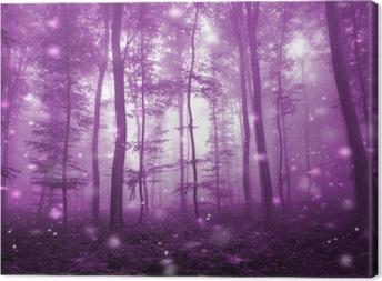 Leinwandbild Magischer rosa farbiger nebeliger Wald mit hellem Hintergrund der künstlerischen Leuchtkäfer. magisches dunkles rosa gefärbtes Märchenwaldland.