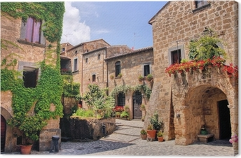 Leinwandbild Malerische Ecke eines malerischen Bergdorf in Italien