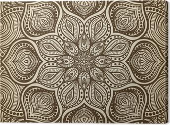 Leinwandbild Mandala. Braun kreisförmigen Muster Hintergrund