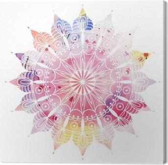 Leinwandbild Mandala bunte Aquarell. Schöne runden Muster. Detaillierte abstraktes Muster. Dekorative isoliert.