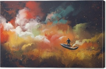 Leinwandbild Mann auf einem Boot im Weltraum mit bunten Wolke, Illustration