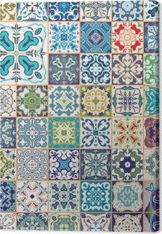 Leinwandbild Wunderschönes Florales Patchwork Design Bunte - Tapete portugiesische fliesen