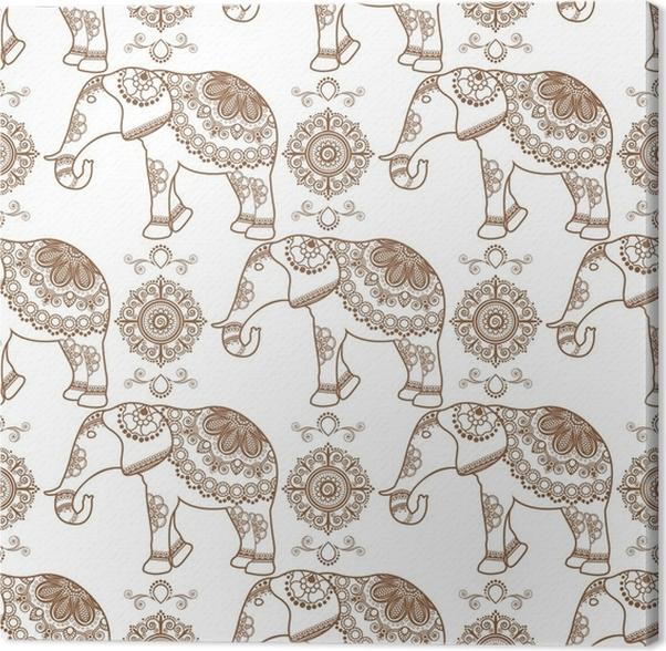 leinwandbild mehndi indische henna braun tattoo nahtlose muster mit elefanten und blumen. Black Bedroom Furniture Sets. Home Design Ideas
