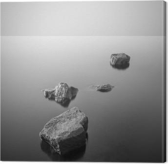 Leinwandbild Minimalist neblige Landschaft. Schwarz und weiß.