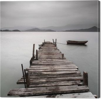 Leinwandbild Mit Blick auf einen Pier und ein Boot, niedriger Sättigung