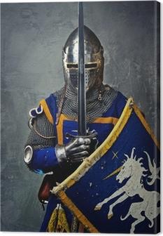 Leinwandbild Mittelalterliche Ritter auf grauem Hintergrund.