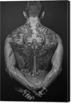 Leinwandbild Moael mit Engel Tattoo