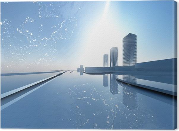 Leinwandbild Moderne Stadt Konzept 3D   Schwerindustrie
