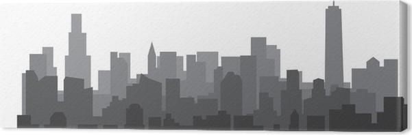Leinwandbild Moderne Stadt Skyline Auf Weißem Hintergrund.  Immobilien Business Konzept.