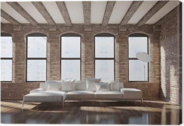 Leinwandbild Moderne stilvolle Loft Interieur, mit Ziegelwänden ...