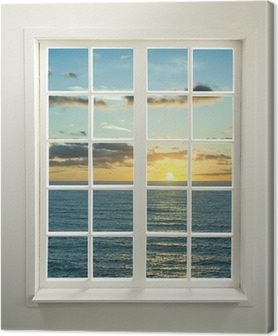 Leinwandbild Moderne Wohn-Fenster mit Sonnenuntergang über dem Meer und Wolken